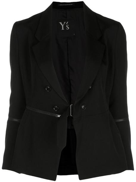 Y's zip detail tailored blazer in black
