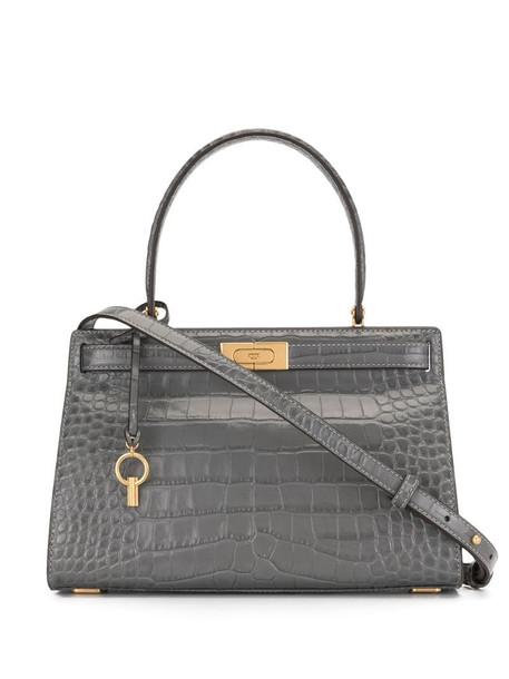 Tory Burch crocodile embossed satchel in grey