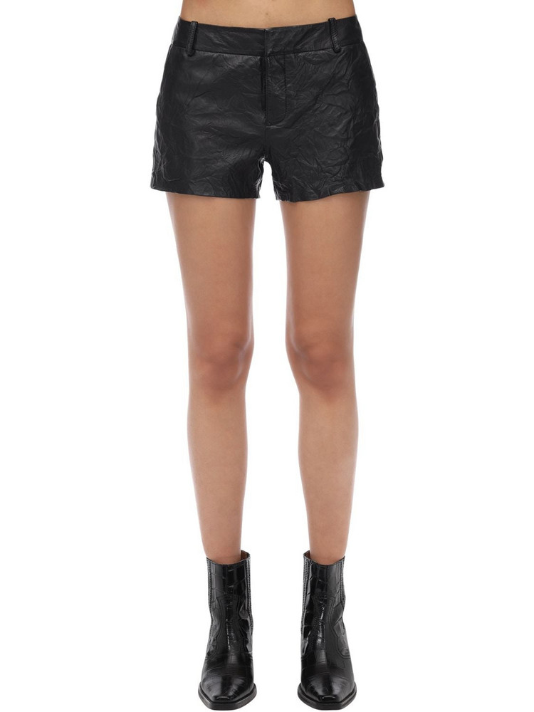 ZADIG & VOLTAIRE Crinkled Leather Shorts in black