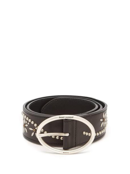 Saint Laurent - Studded Leather Belt - Womens - Black
