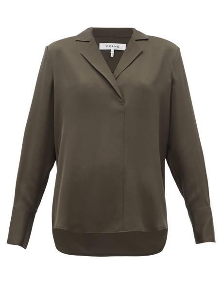 Frame - Notch Lapel Collar Silk Crepe Blouse - Womens - Khaki