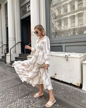 dress,midi dress,h&m,slide shoes,bag
