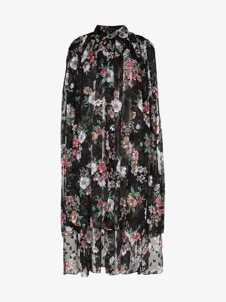 Blindness Floral Print Oversized Shirt Dress