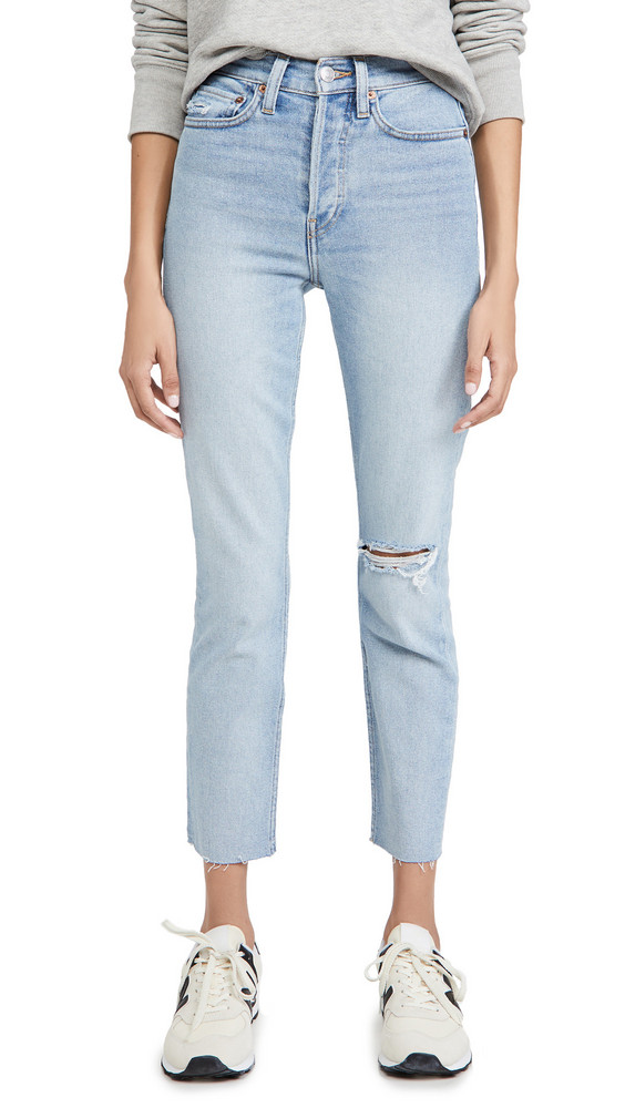 RE/DONE 90s High Rise Ankle Crop Jeans in blue