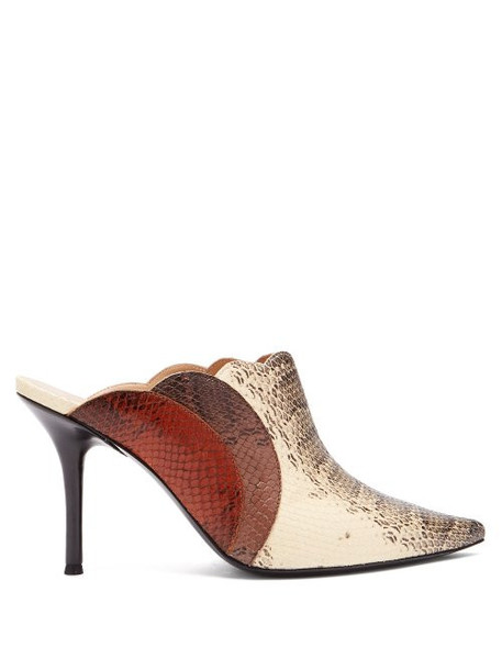 Chloé Chloé - Lauren Watersnake Print Leather Mules - Womens - Brown Multi