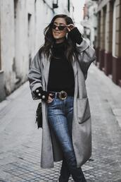 shoes and basics,blogger,coat,sweater,jeans,bag,shoes,grey coat,spring outfits