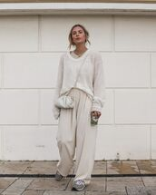 pants,high waisted pants,sneakers,oversized sweater,crossbody bag