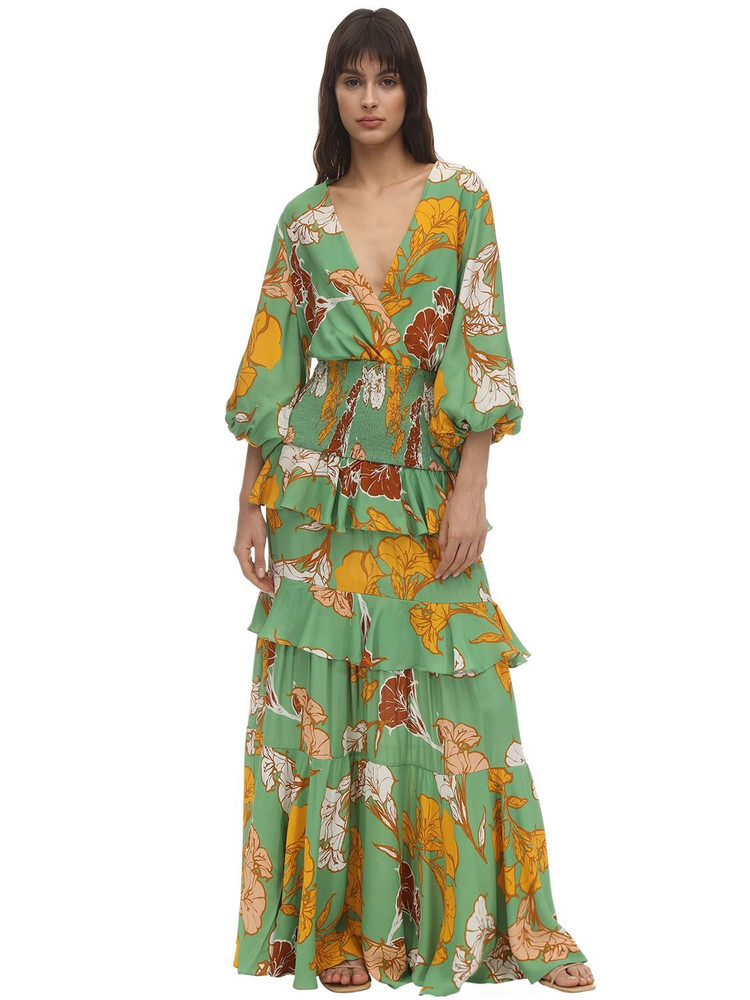 JOHANNA ORTIZ Printed Crepe De Chine Long Dress in green