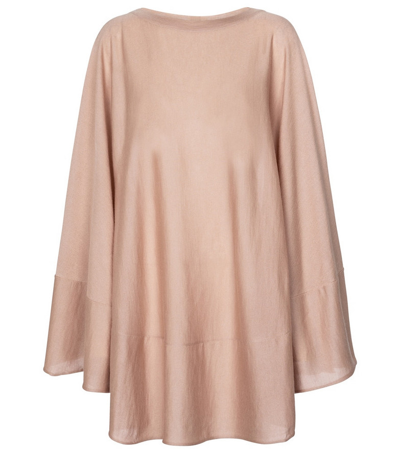 Alaïa Cashmere and silk poncho in pink