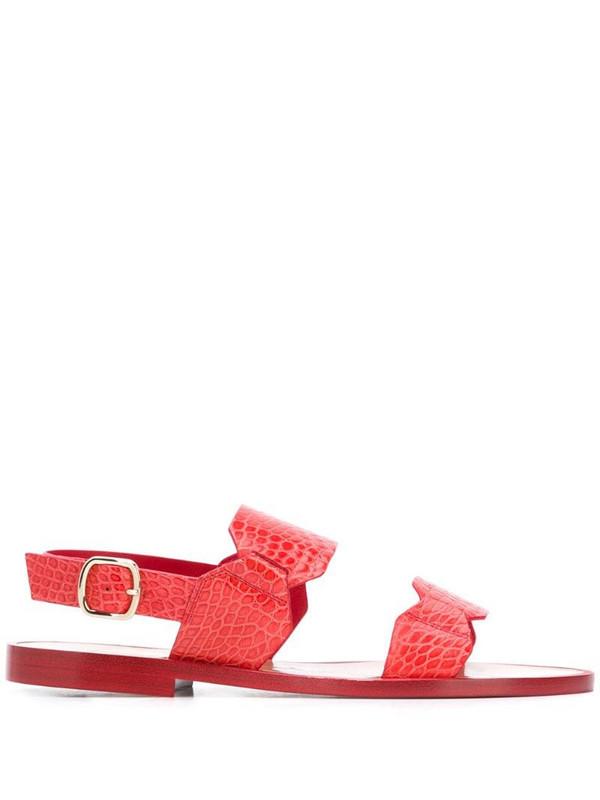 Santoni low heel croc embossed sandals in orange