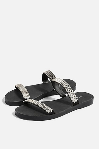 Topshop Hitch Flat Sandals - White