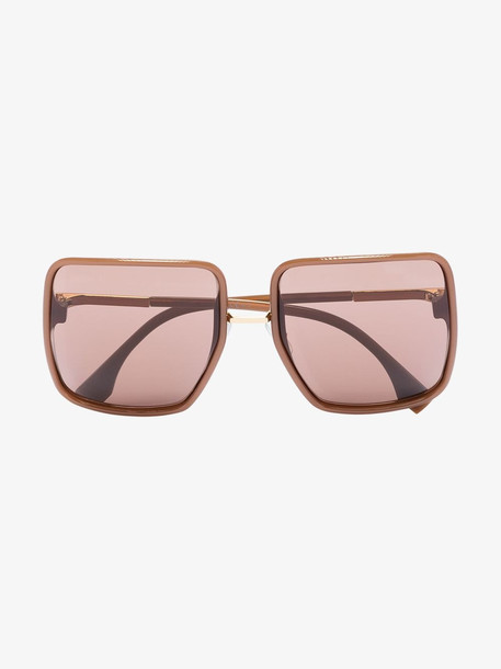 Fendi brown square frame sunglasses in black