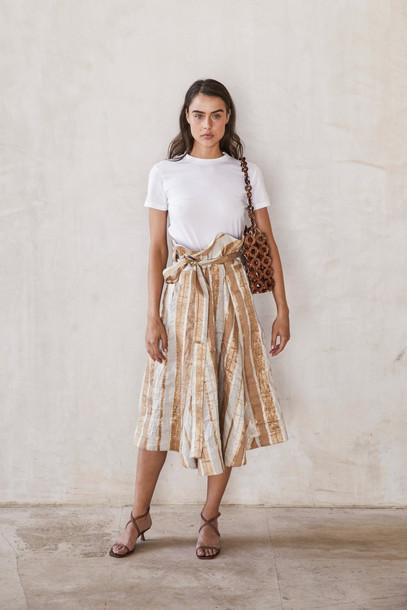 Cult Gaia Asha Skirt - Natural Stripe                                                                                               $548.00