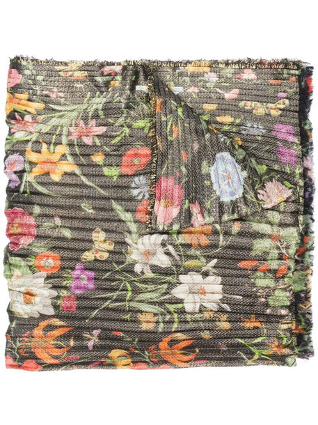 Gucci floral print scarf in gold