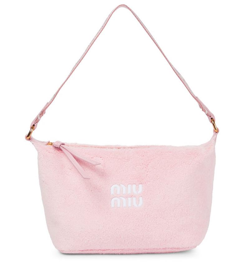 Miu Miu Miu Spirit french terry shoulder bag in pink