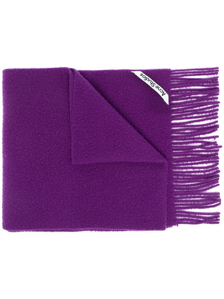 Acne Studios fringed brushed scarf in purple