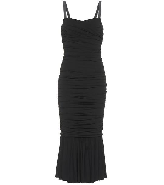 Dolce & Gabbana Silk-blend jersey midi dress in black