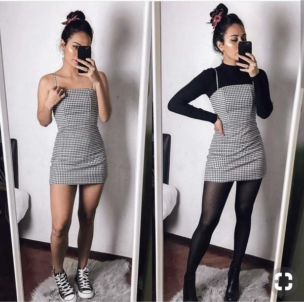 skirt black dress white dress mini mini dress plaid plaid dress short dress