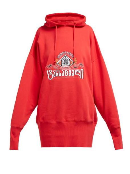 Vetements - Secret Society Cotton Hooded Sweatshirt - Womens - Red