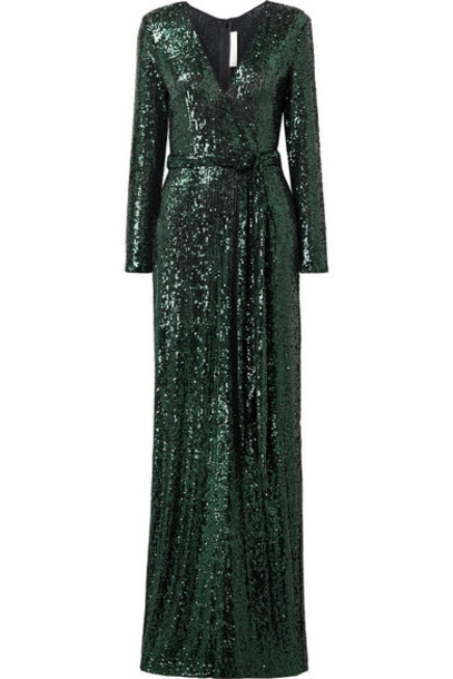 Naeem Khan - Belted Sequined Tulle Gown - Black