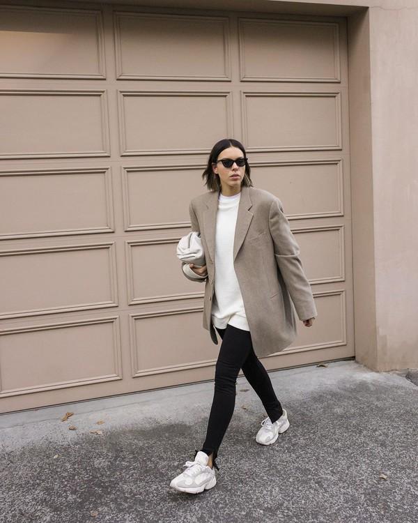 pants leggings sneakers blazer white sweater white bag
