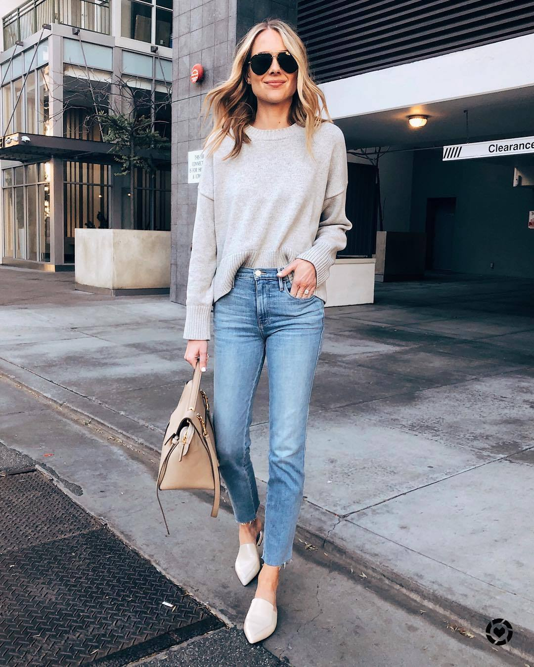 jeans high waisted jeans white shoes mules cropped jeans straight jeans shoulder bag knitted sweater sunglasses