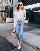 jeans,high waisted jeans,white shoes,mules,cropped jeans,straight jeans,shoulder bag,knitted sweater,sunglasses