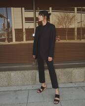 jacket,black blazer,oversized,black sandals,black jeans,straight jeans,high waisted jeans,black sweater
