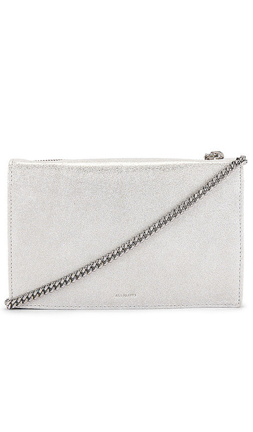ALLSAINTS Glitz Chain Wallet Crossbody in Metallic Silver