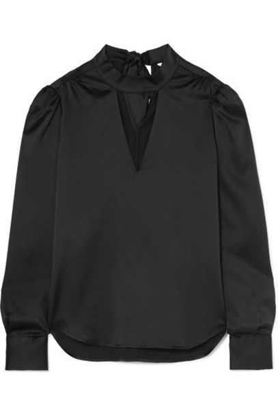 Veronica Beard - Wade Cutout Silk-blend Satin Blouse - Black