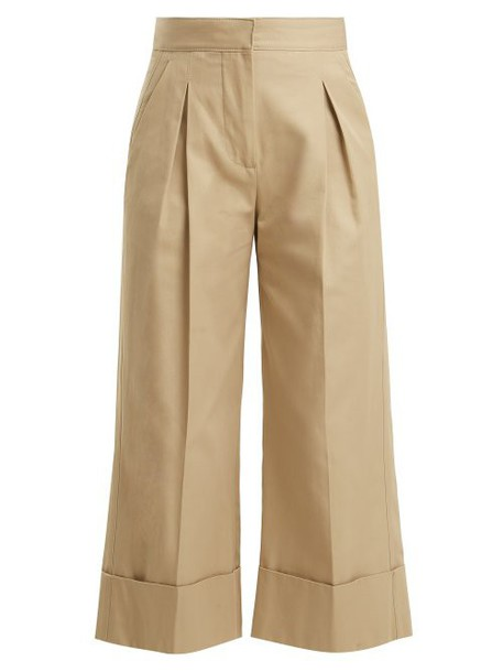 Summa - Pleated Detailed Cotton Trousers - Womens - Beige