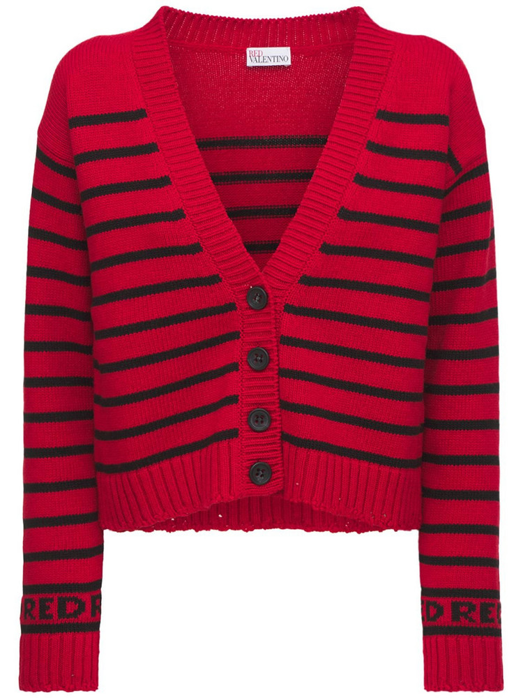 RED VALENTINO Striped Knitted Wool Blend Cardigan in black / red