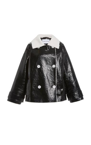 Stand Studio Marushka Faux-Shearling Trench Coat in black