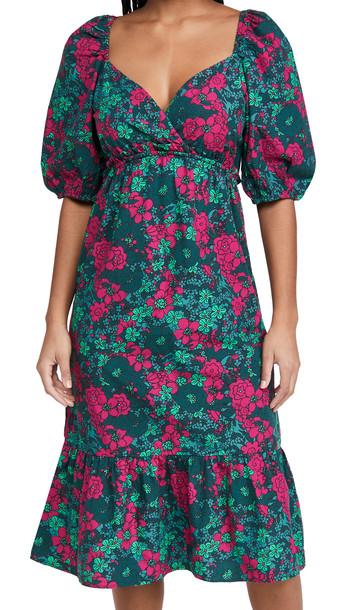 Rahi Puff Sleeve Midi Dress in teal / green / pink