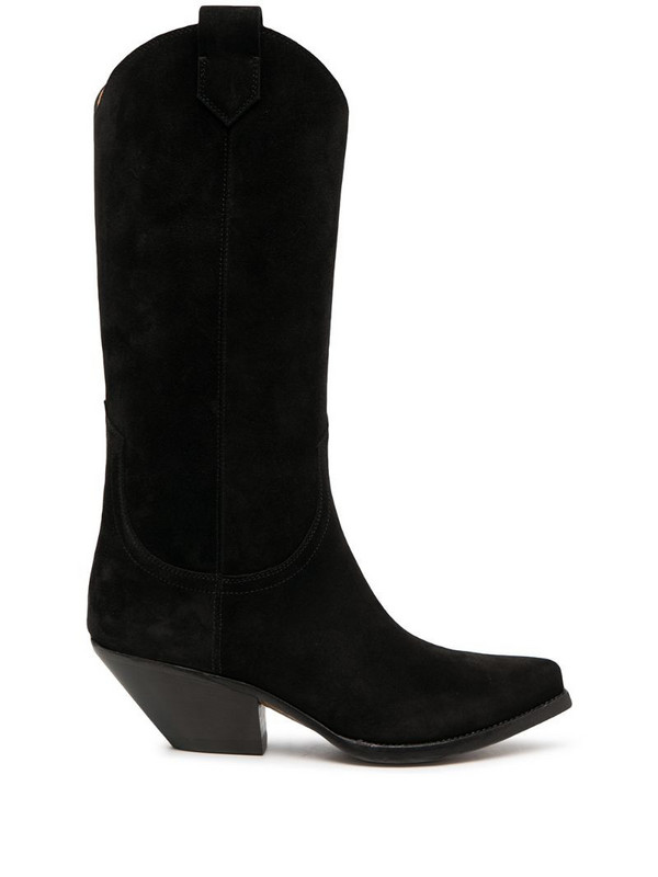 Buttero Elise suede cowboy boots in black