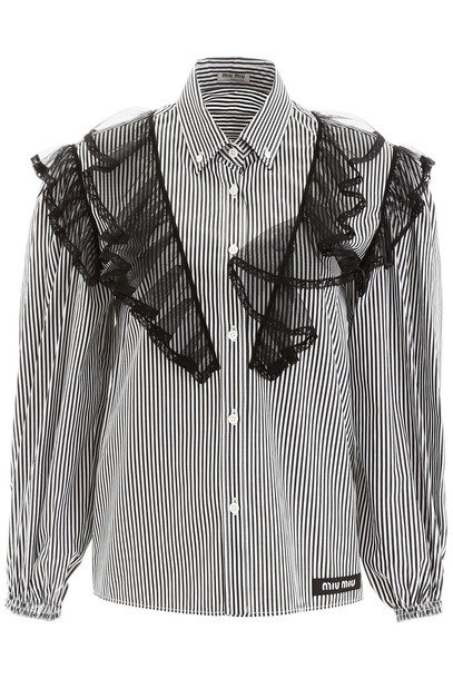 Miu Miu Striped Shirt With Ruffles in nero / white