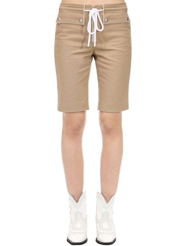 COURREGES Cotton Biker Shorts W/ Drawstring in beige