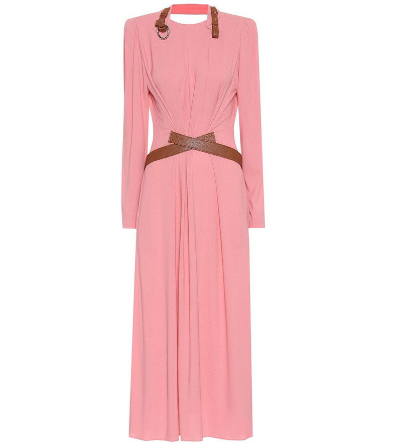 Stella McCartney Faux leather-trimmed maxi dress in pink