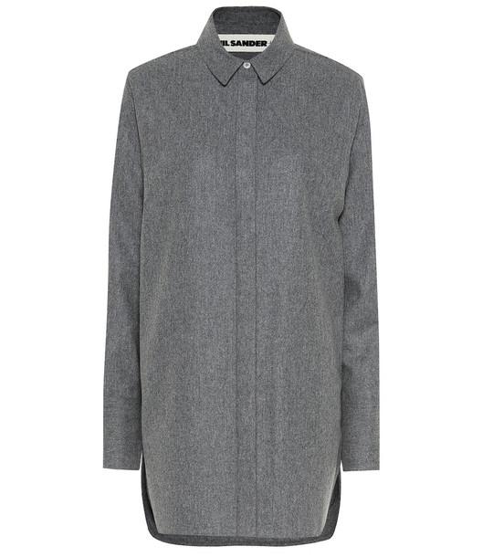 Jil Sander Oversized wool blend shirt in grey