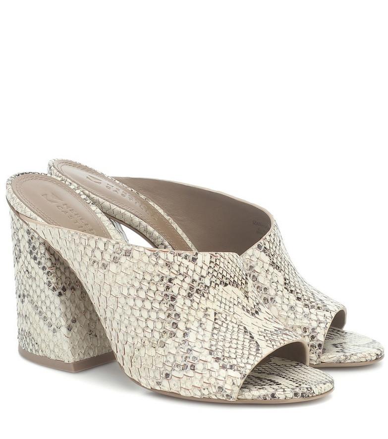 Mercedes Castillo Izar snake-effect leather sandals in beige