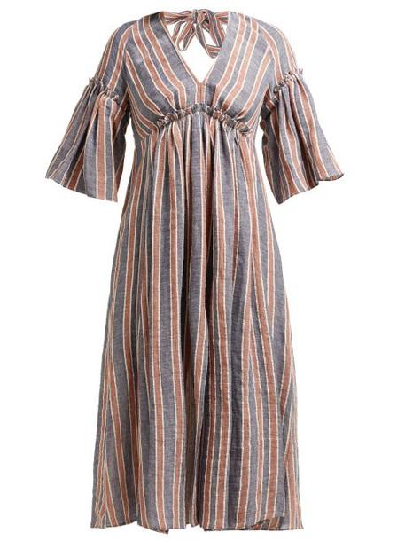 Three Graces London - Georgina Open Back Linen Dress - Womens - Navy Stripe