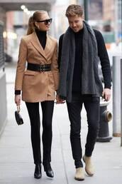 coat,camel,camel coat,streetstyle,model off-duty,romee strijd