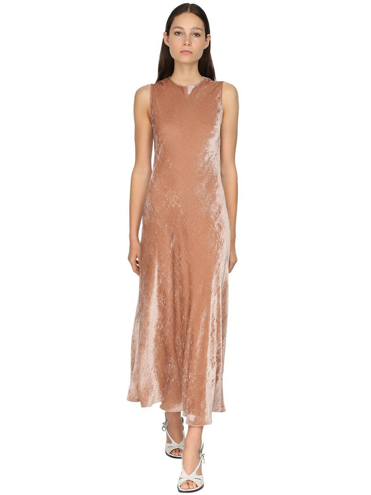 SIES MARJAN Sleeveless Velvet Cord Midi Dress in peach