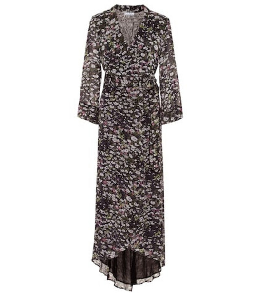 Ganni Floral georgette maxi wrap dress in black