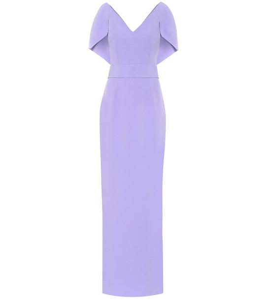 Safiyaa Crêpe cape gown in purple