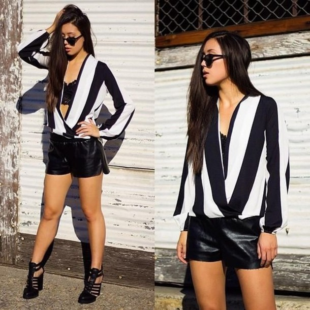 blouse stiped top wrap blouse black and white blouse striped blouse