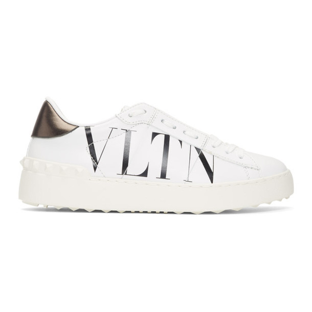 Valentino White and Black Valentino Garavani VLTN Open Sneakers