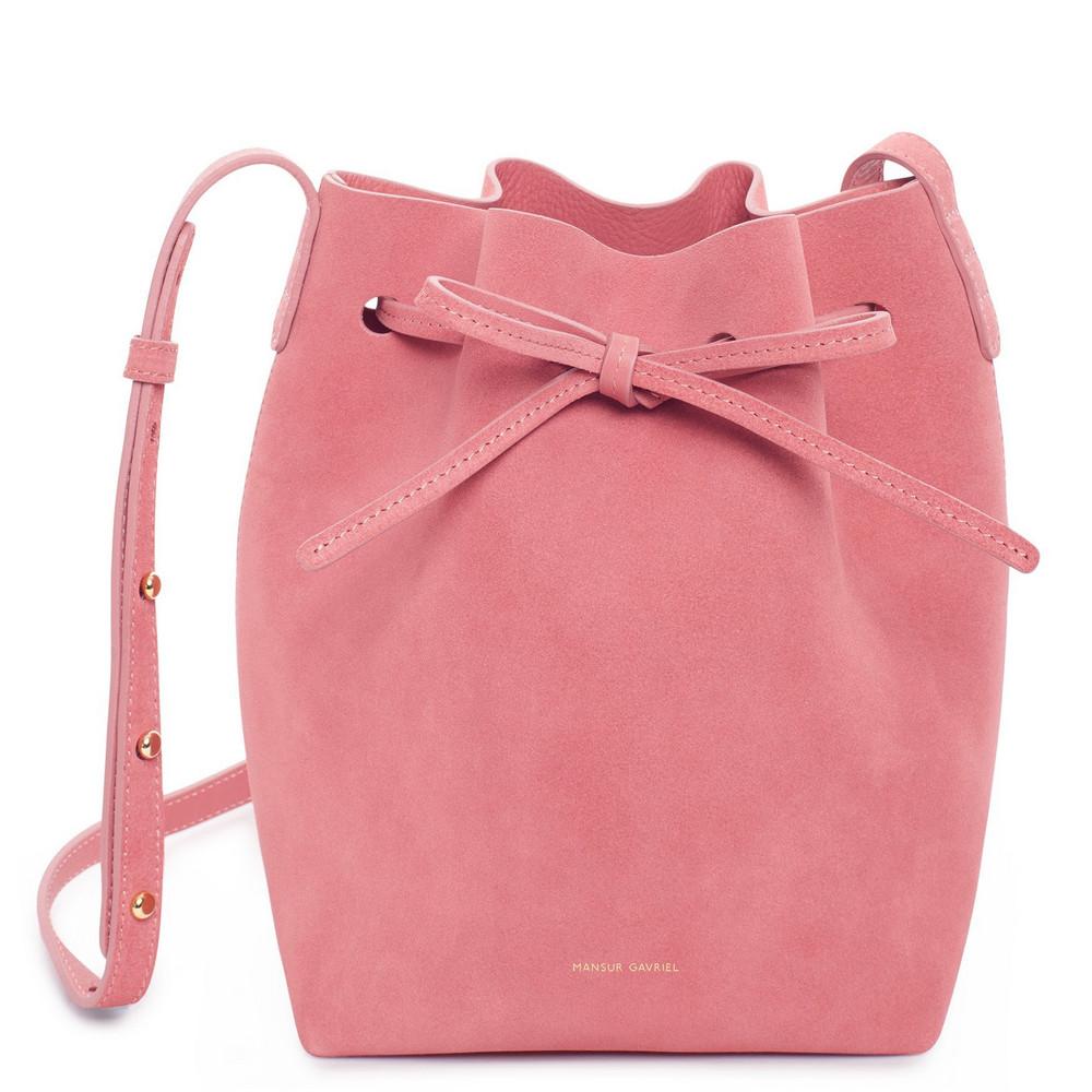 Mansur Gavriel Suede Mini Bucket Bag - Blush
