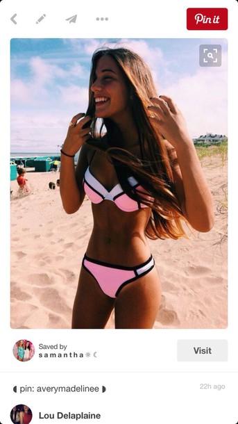 swimwear triangl pink white pink / black and white pink bikini bikini triangle bikini