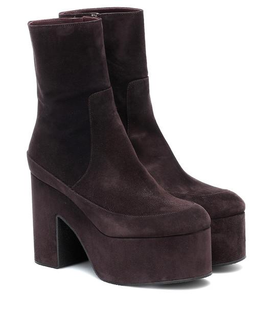 Dries Van Noten Suede ankle boots in purple